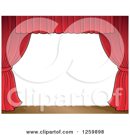 Clipart of a Border of a Stage and Red Curtains - Royalty Free Vector Illustration by visekart