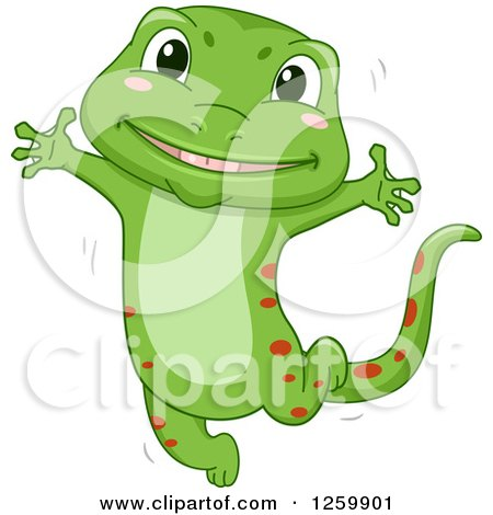 Clipart of a Cute Happy Green Gecko Jumping - Royalty Free Vector Illustration by BNP Design Studio