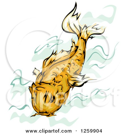 Clipart of a Swimming Orange Koi Fish Mascot - Royalty Free Vector Illustration by BNP Design Studio