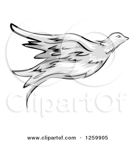 Clipart of a Flying Dove Mascot - Royalty Free Vector Illustration by BNP Design Studio