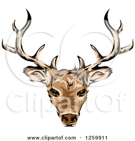 Clipart of a Deer Head and Antlers Mascot - Royalty Free Vector Illustration by BNP Design Studio