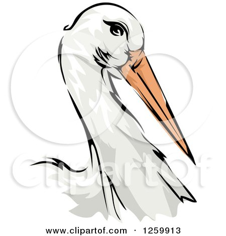 Clipart of a Stork Bird Mascot - Royalty Free Vector Illustration by BNP Design Studio