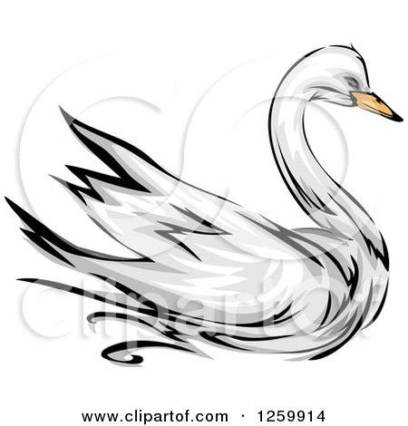 Clipart of a Swan Bird Mascot - Royalty Free Vector Illustration by BNP Design Studio