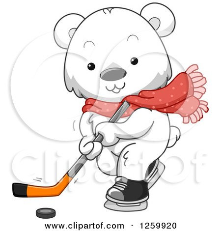 Clipart of a Cute Polar Bear Playing Ice Hockey - Royalty Free Vector Illustration by BNP Design Studio