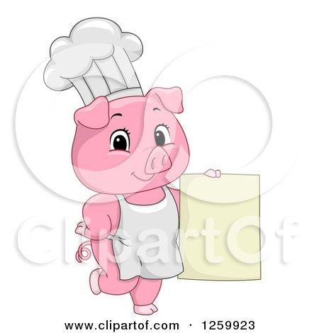 Clipart of a Cute Chef Pig Holding a Menu Sign - Royalty Free Vector Illustration by BNP Design Studio