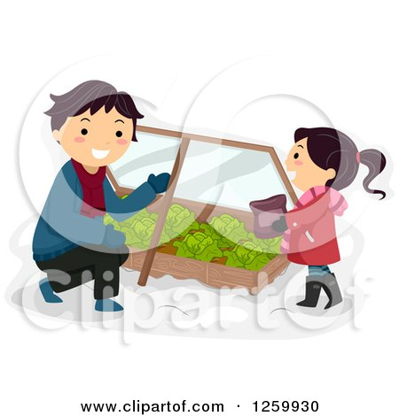 Clipart of a Father and Daughter Tending to a Cabbage Winter Garden Box - Royalty Free Vector Illustration by BNP Design Studio