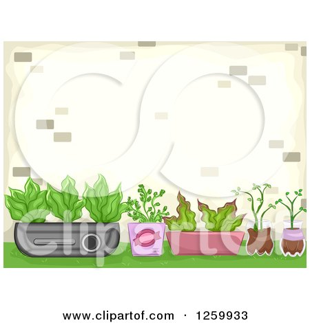 Clipart of a Container Garden - Royalty Free Vector Illustration by BNP Design Studio