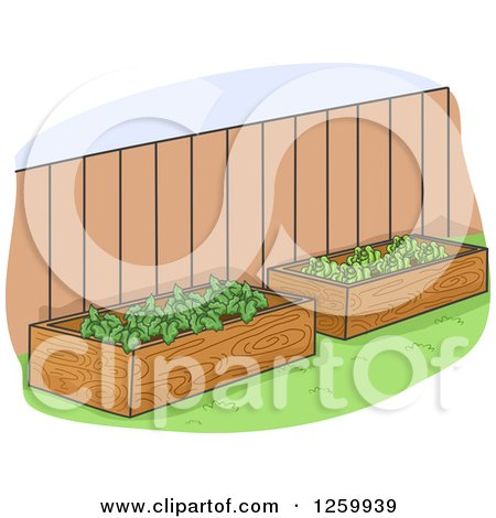 Clipart of Raised Garden Beds in a Yard - Royalty Free Vector Illustration by BNP Design Studio