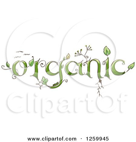 Clipart of Organic Text with Plants - Royalty Free Vector Illustration by BNP Design Studio