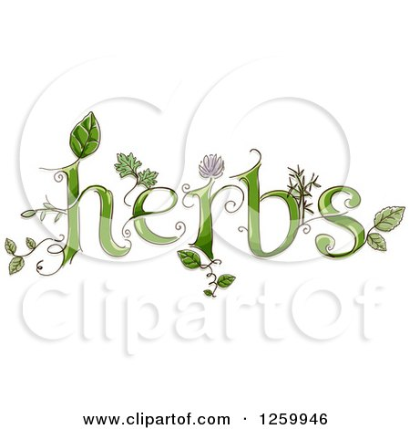 Clipart of Herbs Text with Leaves and Flowers - Royalty Free Vector Illustration by BNP Design Studio