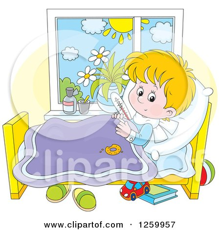 Clipart of a Sick Blond Boy with a Thermometer Under His Arm in Bed - Royalty Free Vector Illustration by Alex Bannykh