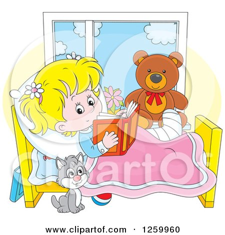 Clipart of a Cat by a Blond Caucasian Girl Reading in Bed While Recovering from an Injury - Royalty Free Vector Illustration by Alex Bannykh