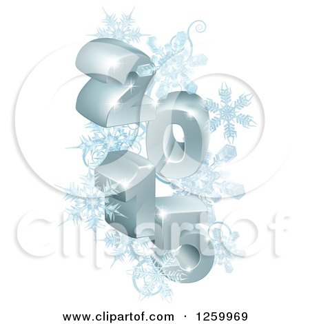 Clipart of a 3d Year 2015 with Snowflakes - Royalty Free Vector Illustration by AtStockIllustration