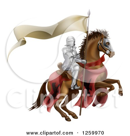 Clipart of a 3d Armoured Knight on a Steed, with a Ribbon Banner Flag - Royalty Free Vector Illustration by AtStockIllustration