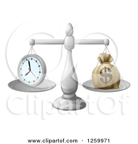 Clipart of 3d Silver Scales Balancing a Clock and Money Bag - Royalty Free Vector Illustration by AtStockIllustration