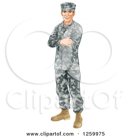 Clipart Of A Caucasian Male Soldier In Camouflage Standing With Folded Arms Royalty Free Vector Illustration