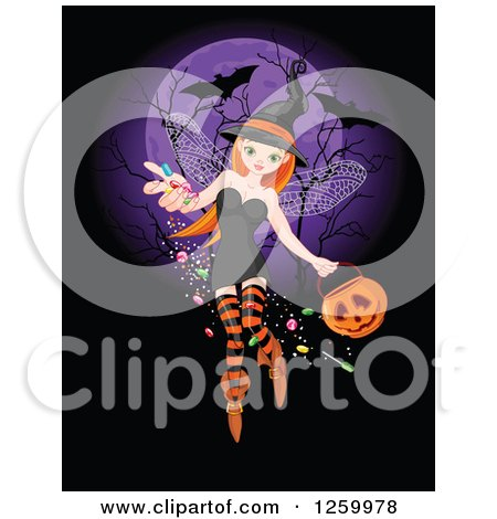 Clipart of a Pretty Halloween Witch Fairy Sprinkling Candy over a Purple Full Moon with Bats - Royalty Free Vector Illustration by Pushkin