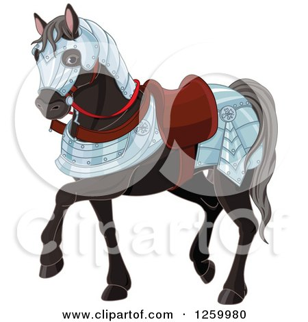 Clipart of a Cute Black War Horse in Armour - Royalty Free Vector Illustration by Pushkin
