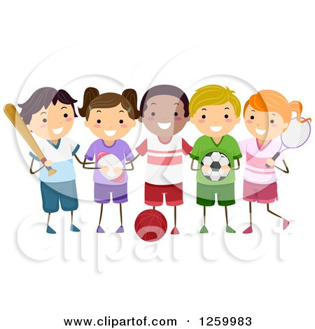 Clipart of Happy Children with Sports Equipment - Royalty Free Vector Illustration by BNP Design Studio