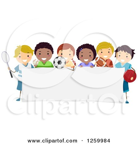 Clipart of Happy Sporty Children Around a Sign - Royalty Free Vector Illustration by BNP Design Studio