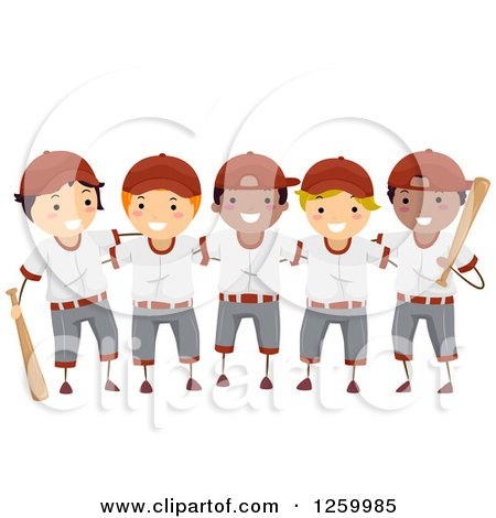 Clipart of a Group of Happy Boys on a Baseball Team - Royalty Free Vector Illustration by BNP Design Studio