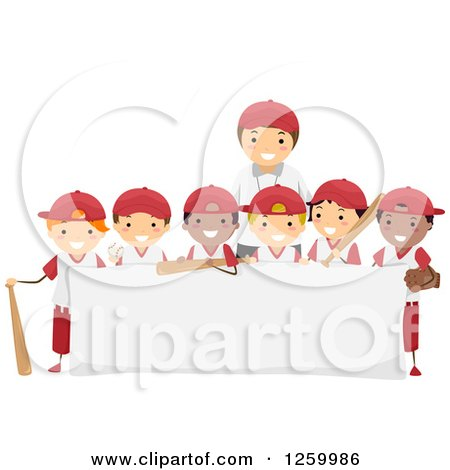 Clipart of a Group of Happy Boys and a Coach on a Baseball Team over a Sign - Royalty Free Vector Illustration by BNP Design Studio