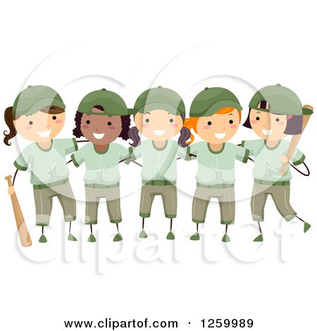Clipart of Happy Girls in Green Baseball Uniforms - Royalty Free Vector Illustration by BNP Design Studio
