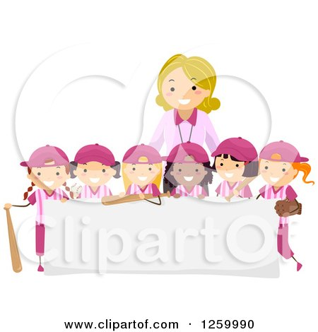 Clipart of Happy Baseball Girls and a Coach over a Sign - Royalty Free Vector Illustration by BNP Design Studio