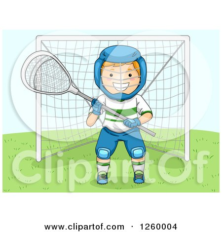 Clipart of a Caucasian Boy Lacrosse Goalie - Royalty Free Vector Illustration by BNP Design Studio