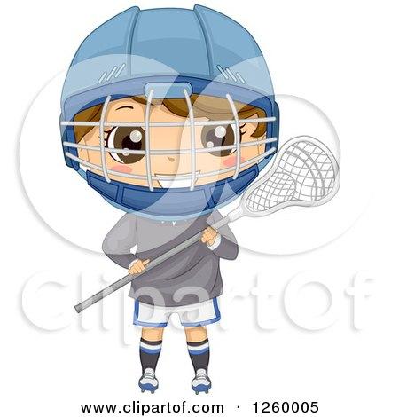 Caucasian Boy Holding a Lacrosse Stick Posters, Art Prints