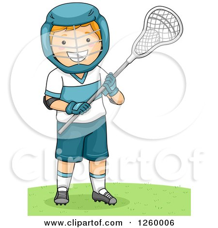 Clipart of a Caucasian Boy Holding a Lacrosse Stick - Royalty Free Vector Illustration by BNP Design Studio