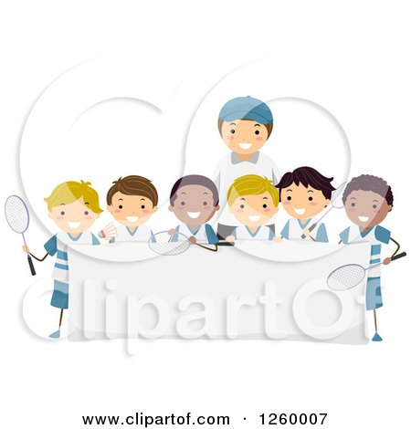 Clipart of a Coach and Group of Happy Tennis Team Boys over a Blank Sign - Royalty Free Vector Illustration by BNP Design Studio
