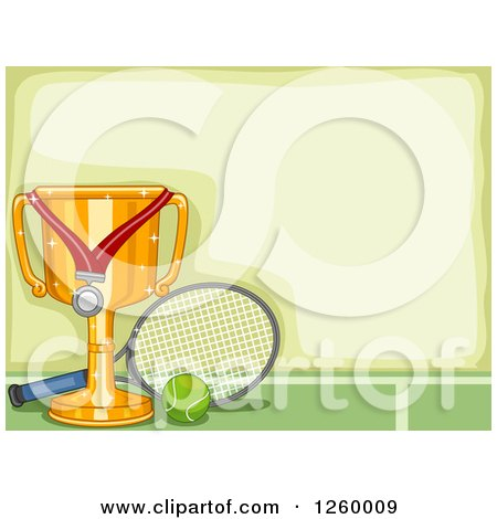 Clipart of a Border with a Sports Trophy and Tennis Equipment - Royalty Free Vector Illustration by BNP Design Studio
