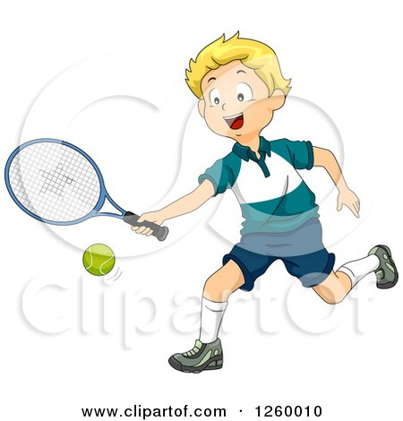 Clipart of a Blond Caucasian Boy Playing Tennis - Royalty Free Vector Illustration by BNP Design Studio