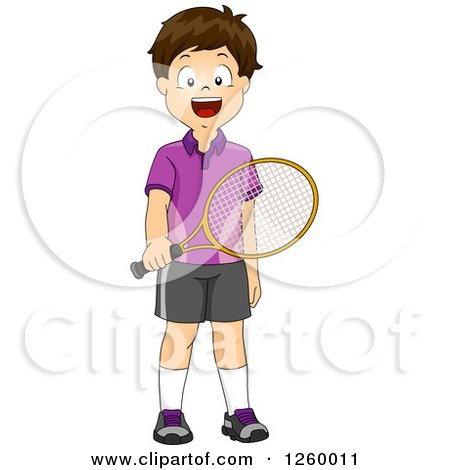 Clipart of a Brunette Caucasian Boy Holding a Tennis Racket - Royalty Free Vector Illustration by BNP Design Studio