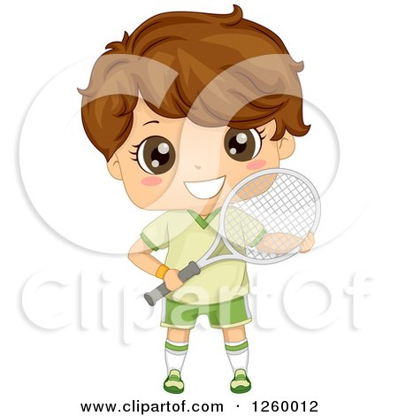 Clipart of a Brunette White Boy Holding a Tennis Racket - Royalty Free Vector Illustration by BNP Design Studio