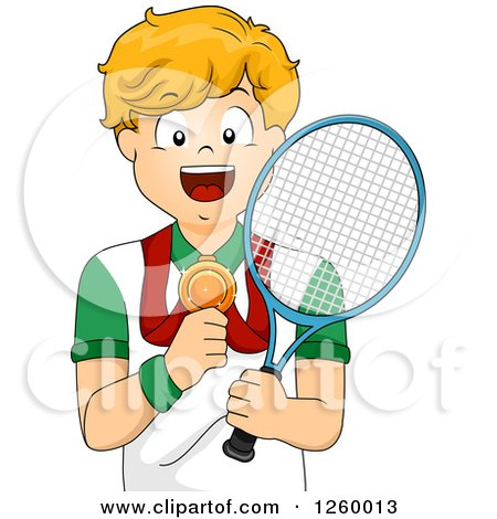 Clipart of a Caucasian Boy Holding a Tennis Racket and Showing His Medal - Royalty Free Vector Illustration by BNP Design Studio