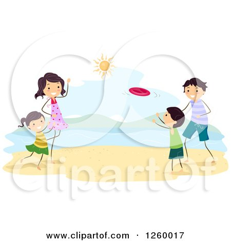 Clipart of a Happy Family Playing Frisbee on a Beach - Royalty Free Vector Illustration by BNP Design Studio