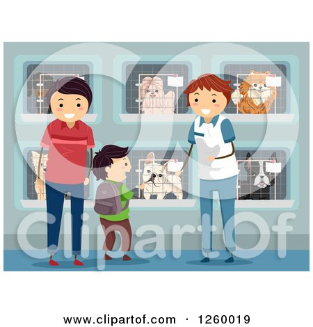 Clipart of a Boy and Father Looking for a Dog at a Shelter - Royalty Free Vector Illustration by BNP Design Studio