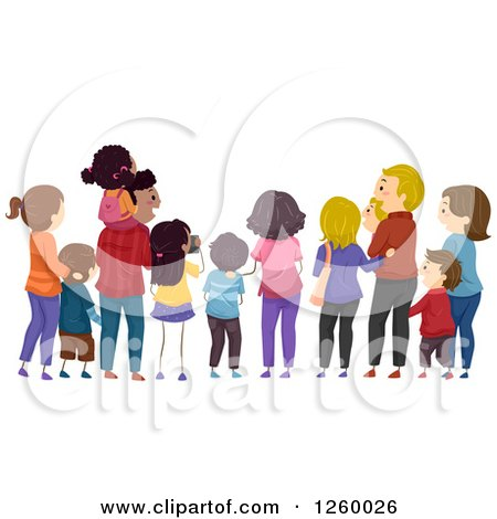 Clipart of a Rear View of Families Watching an Event - Royalty Free Vector Illustration by BNP Design Studio