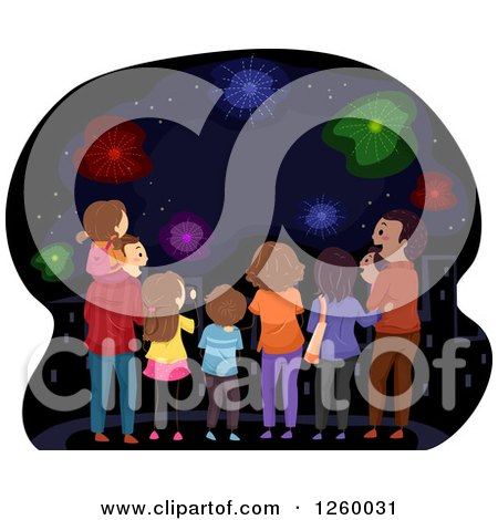 Clipart of a Rear View of Happy Families Watching Fireworks - Royalty Free Vector Illustration by BNP Design Studio