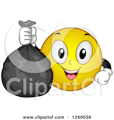Clipart Of A Smiley Emoji Gentleman Holding Up A Mustache