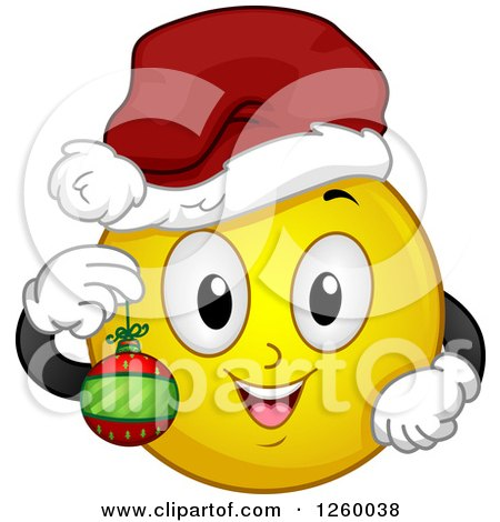 Clipart of a Christmas Emoticon Holding a Bauble - Royalty Free Vector Illustration by BNP Design Studio