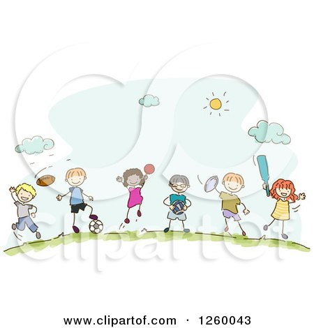Clipart of Sketched Stick Kids with Sports Equipment - Royalty Free Vector Illustration by BNP Design Studio