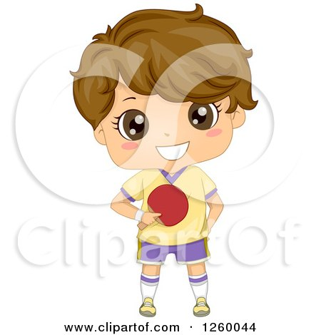 Clipart of a Caucasian Boy Holding a Ping Pong Paddle - Royalty Free Vector Illustration by BNP Design Studio