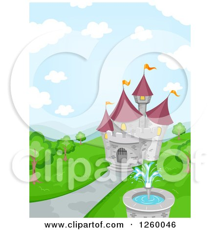 Clipart of a Fairy Tale Castle with a Fountain - Royalty Free Vector Illustration by BNP Design Studio