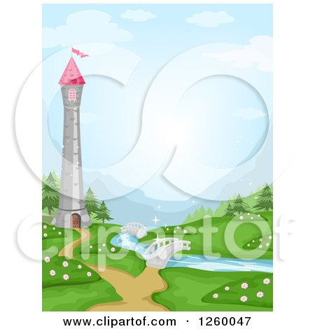 Clipart of a Tower over a River with Bridges - Royalty Free Vector Illustration by BNP Design Studio