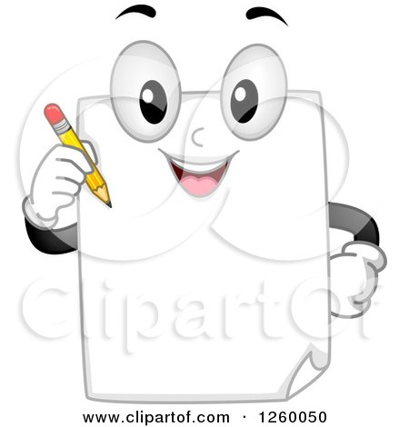 Clipart of a Happy Paper Character Holding a Pencil - Royalty Free Vector Illustration by BNP Design Studio