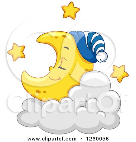 Clipart of a Cute Crescent Moon Sleeping on a Cloud - Royalty Free Vector Illustration by BNP Design Studio