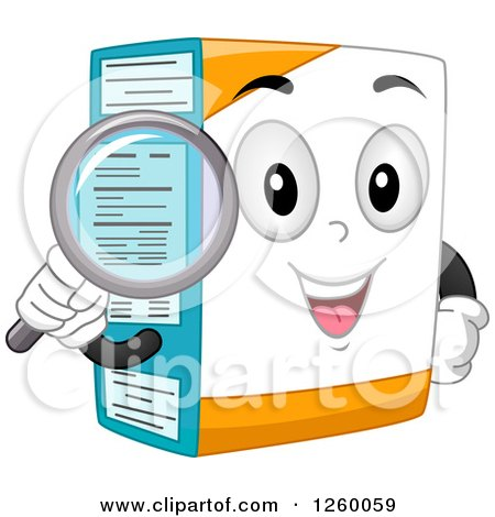 Clipart of a Happy Box Character Holding a Magnifying Glass over Its Nutrition Label - Royalty Free Vector Illustration by BNP Design Studio